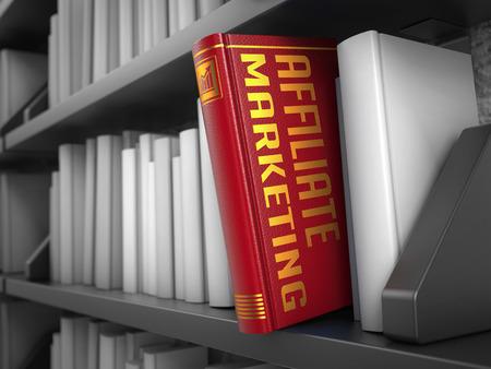 contextual: Marketing de afiliados - Libro Rojo de la Biblioteca Negro entre los blancos Foto de archivo