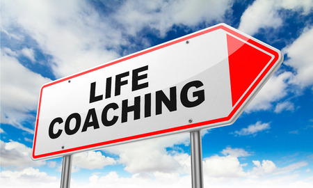 career life: Life Coaching Inscription on Red Road Sign on Sky Background