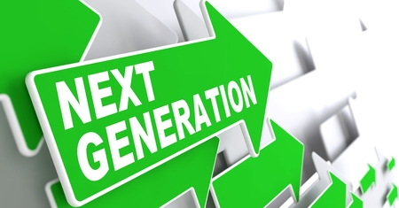 Next Generation  Green Arrows with Slogan on a Grey Background Indicate the Direction  Stock Photo