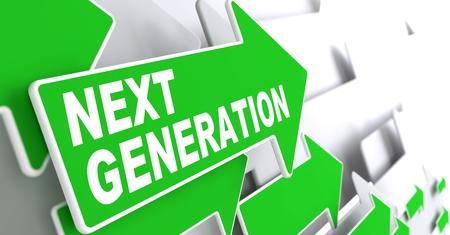 slogan: Siguiente Generaci�n verde flechas con Slogan sobre un fondo gris indican la direcci�n Foto de archivo