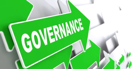 governance: Governance - Green Arrows with Slogan on a Grey Background Indicate the Direction