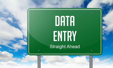 data entry: Highway Signpost with Data Entry wording on Sky Background. Stock Photo