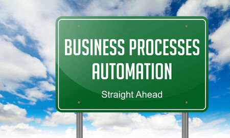formalization: Highway Signpost with Business Processes Automation  wording on Sky Background.