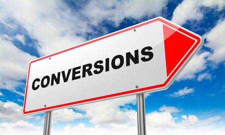 rearrangement: Conversions - Inscription on Red Road Sign on Sky Background.