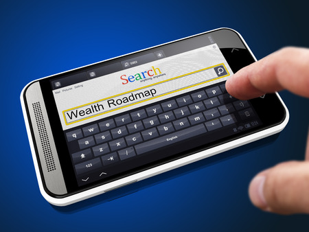 embedding: Wealth Roadmap in Search String - Finger Presses the Button on Modern Smartphone on Blue Background.