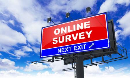 online survey: Online Survey - Red Billboard on Sky Background. Business Concept.