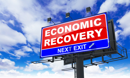 economic recovery: Economic Recovery - Red Billboard on Sky Background. Business Concept.
