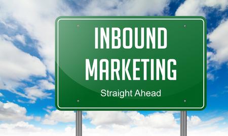 inbound marketing: Highway Signpost with Inbound Marketing wording on Sky Background.