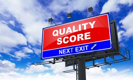 standardization: Quality Score - Red Billboard on Sky Background. Business Concept.