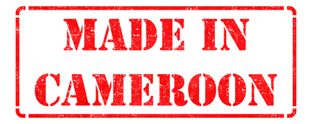 cameroonian: Made in Cameroon - Inscription on Red Rubber Stamp Isolated on White.