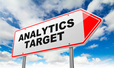 Analytics Target - Inscription on Red Road Sign on Sky Background.