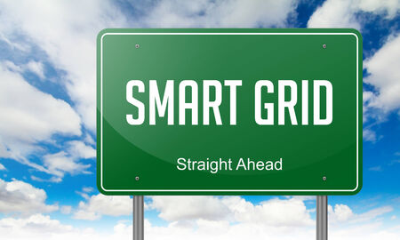 smart grid: Highway Signpost with Smart Grid wording on Sky Background. Stock Photo