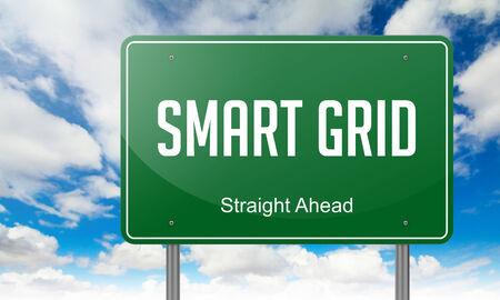 modernization: Highway Signpost with Smart Grid wording on Sky Background. Stock Photo