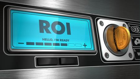ROI - Inscription on Display of Vending Machine. Stock Photo