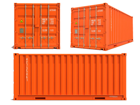 dimensions: Orange Cargo Container in Three Dimensions Isolated on White Background. Stock Photo