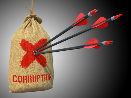 overindulgence: Corruption - Three Arrows Hit in Red Target on a Hanging Sack on Grey Background. Stock Photo