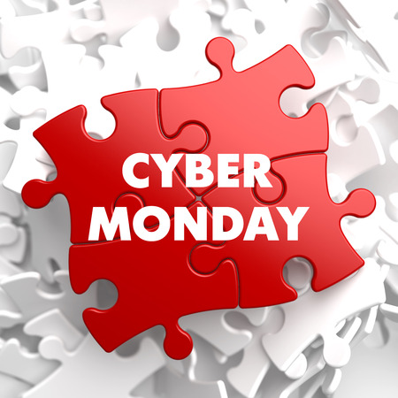 Cyber Monday on Red Puzzle on White Background. photo