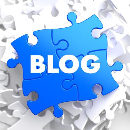 photoblog: Blog on Blue Puzzle on White Background.