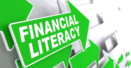 debet: Financial Literacy Green Arrows with Slogan on a Grey Background Indicate the Direction.