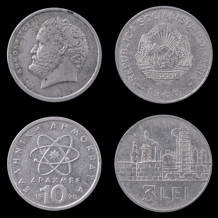 an obverse: Obverse and reverse of Two Old European Coins on a Black Background. Stock Photo
