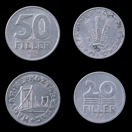 obverse: Obverse and Reverse of Two hungarian Coins on a Black Background.