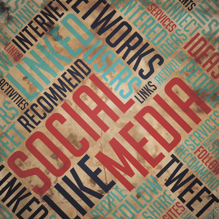 fulvous: Social Media. Grunge Wordcloud on Old Fulvous Paper. Stock Photo