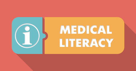 erudition: Medical Literacy Concept in Flat Design with Long Shadows.