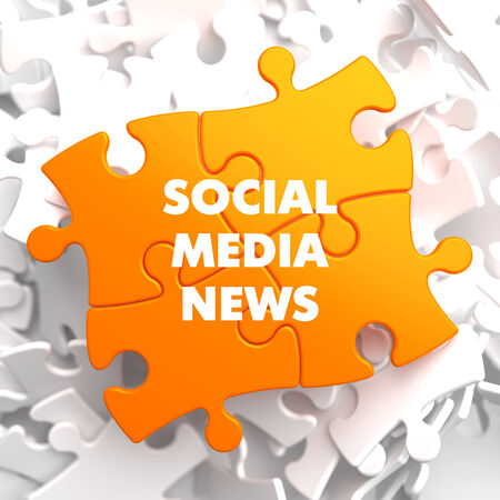 Social Media News on Yellow Puzzle on White Background. photo