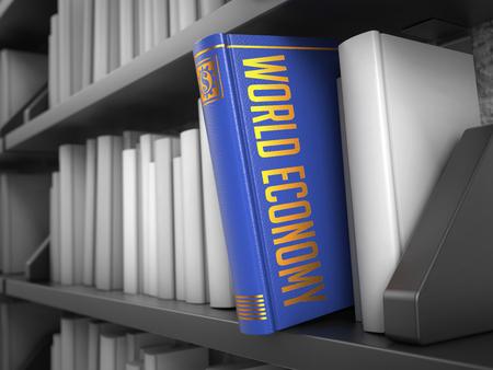 relaciones laborales: Economía Mundial - Libro Azul sobre la Biblioteca Negro Entre los blancos. Foto de archivo