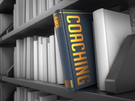 life coaching: Coaching - Grey Book on the Black Bookshelf between white ones. Internet Concept.
