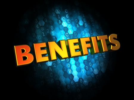 avail: Benefits - Golden Color Text on Dark Blue Digital Background. Stock Photo