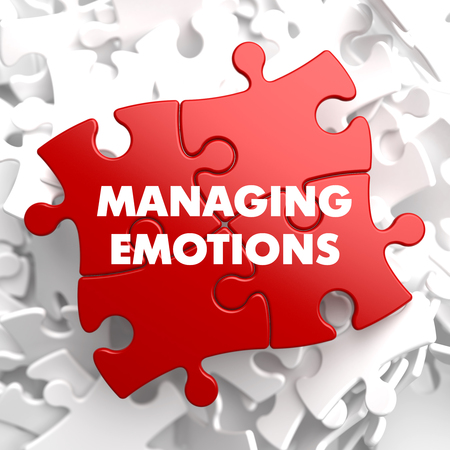 composure: Gestione Emozioni su puzzle rossa su sfondo bianco. Archivio Fotografico