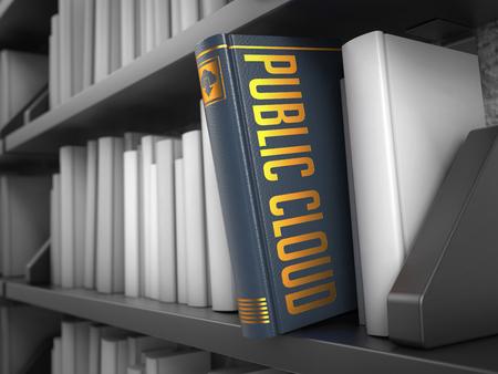 societal: Public Cloud - Grey Book on the Black Bookshelf between white ones. Internet Concept.
