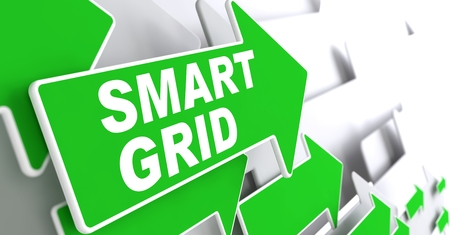 Smart Grid Green Arrows with Slogan on a Grey Background Indicate the Direction. Stock Photo