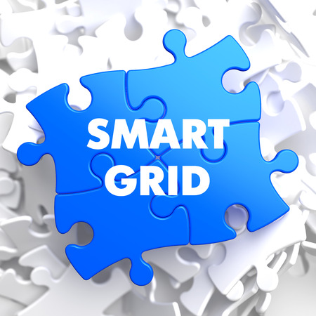 smart grid: Smart Grid on Blue Puzzle on White Background.