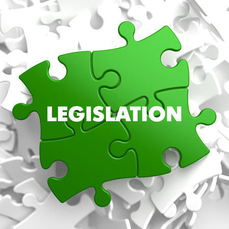 rightfulness: Legislation on Green Puzzle on White Background. Stock Photo