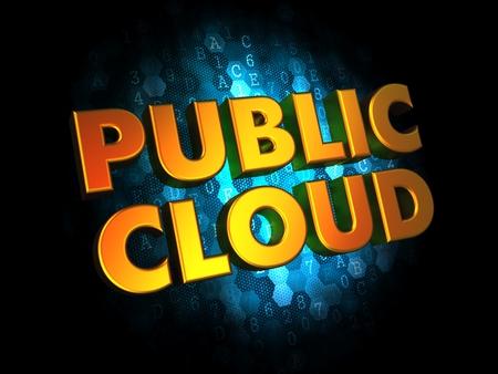 societal: Public Cloud - Golden Color Text on Dark Blue Digital Background. Stock Photo