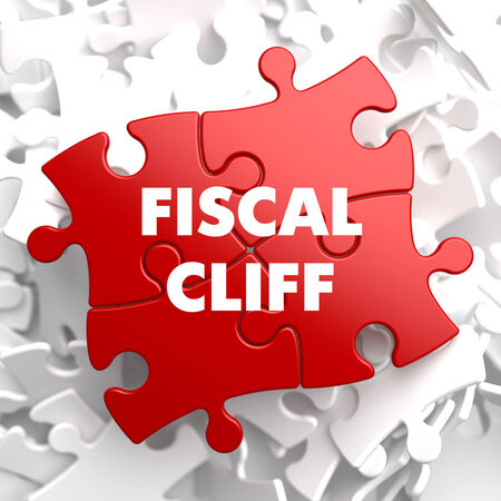 financial cliff: Fiscal Cliff on Red Puzzle on White Background.