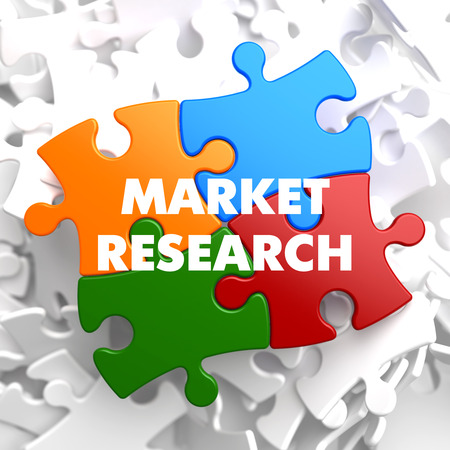 product reviews: Market Research on Multicolor Puzzle on White Background. Stock Photo
