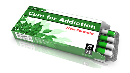narcotism: Cure for Addiction- Green Open Blister Pack Tablets Isolated on White.