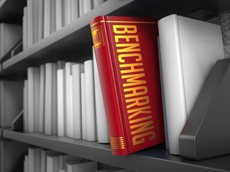 benchmarking: Benchmarking - Red Book on the Black Bookshelf between white ones. Internet  Concept.
