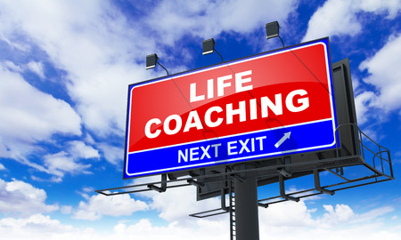 life coaching: Life Coaching - Red Billboard on Sky Background. Business Concept. Stock Photo
