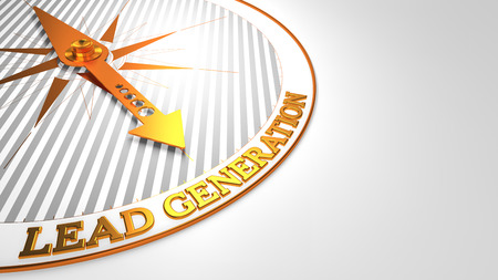 contextual: Lead Generation - Golden Compass Needle on a White Field Pointing.
