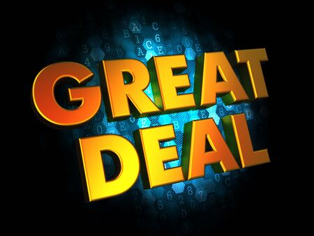 great deal: Great Deal  - Gold 3D Words on Digital Background. Stock Photo