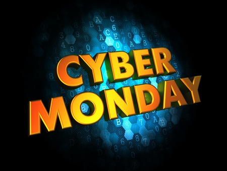 Cyber Monday - Gold 3D Words on Digital Background. photo