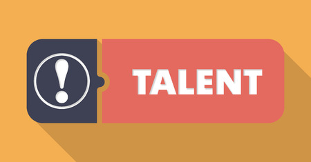 adept: Talent Button in Flat Design with Long Shadows on Orange Background.