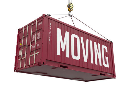 Moving - Red Cargo Container hoisted with hook Isolated on White Background. photo