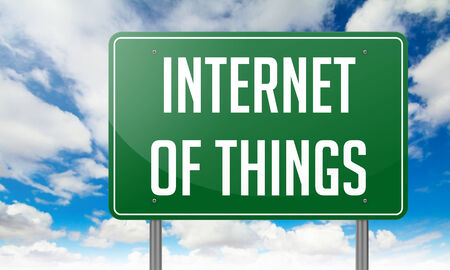 internet technology: Internet of Things Highway Signpost with  wording on Sky Background. Stock Photo
