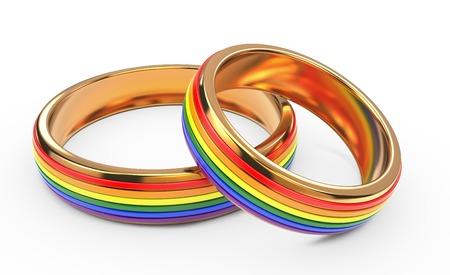 boda gay: Boda gay del arco iris anillos aislados sobre fondo blanco.