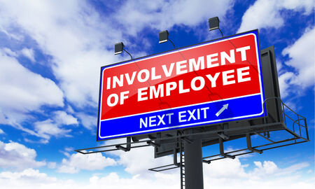 involvement: Involvement of Employee - Red Billboard on Sky Background. Business Concept.